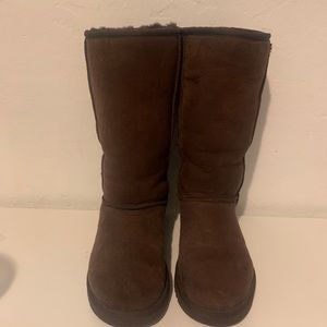 UGG Classic Tall Brown Suede Sheepskin Boot size 7